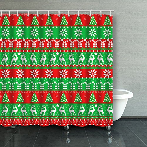 Family Unique Decorative Custom Xmas Shower Curtains Deeps Cute New Year Ugly Pixel Pattern Waterproof Polyester Fabric Home Decor Bath Curtain Decor Bathroom Design Decorations 72X72 Inches (Ugly Curtain Shower)