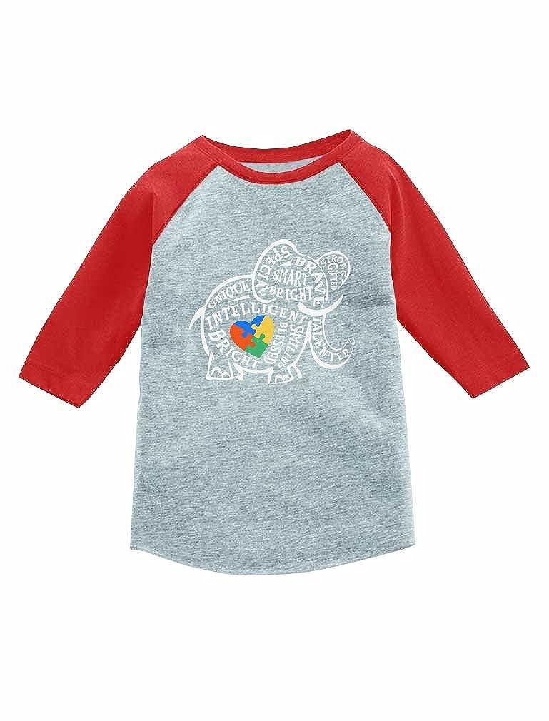 Tstars - Autism Awareness Elephant 3/4 Sleeve Baseball Jersey Toddler Shirt GZhPlltgm8