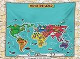 Colorful Educational Kids Maps Decor Fleece Throw Blanket North South America Africa Asia Australia Pacific Indian Atlantic Ocean Throw
