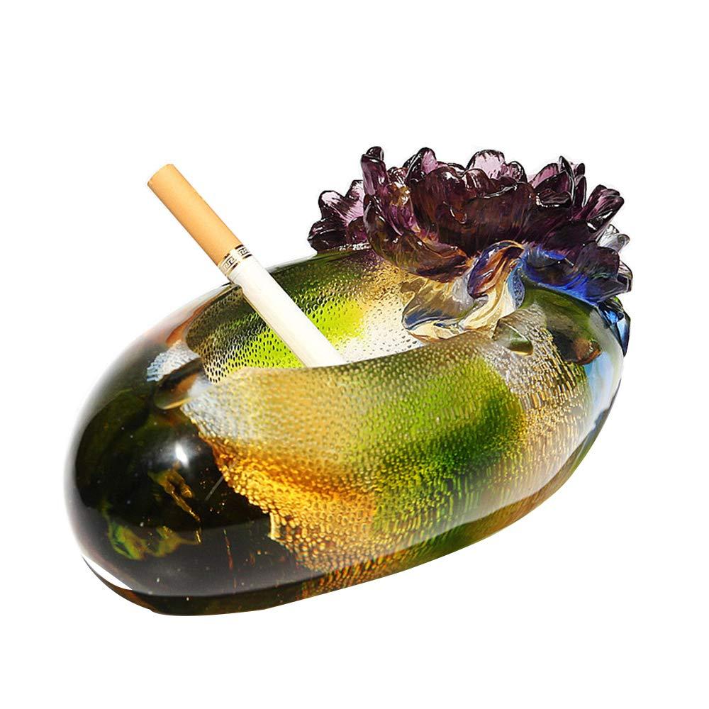 ガラス クリスタル 灰皿 ホーム オフィス アート デコレーション 灰皿 クリエイティブ 葉巻 アクセサリー 灰皿 誕生日 お祭り ガラス 彫刻 ハンドメイド クラフト 灰皿 (19X9.7X7.8CM) イエロー  イエロー B07PR8BDWK