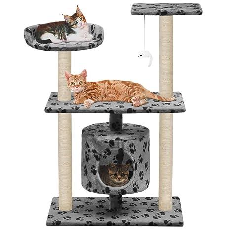 Festnight- Rascador para Gatos con Poste Gris con Huellas de Patas 95 cm