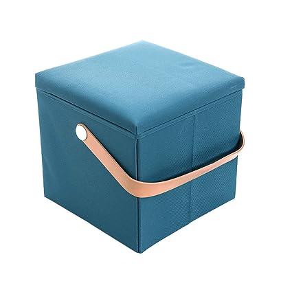 Ottoman and Storage Ottomans Storage Foot Stools Bench Pouf Ottoman Cube Storage Stool Decorative Seating Dark Blue