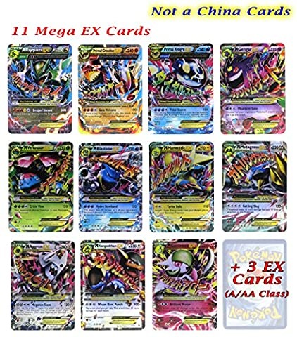 Set of 11 Mega EX Cards Rayquaza, Primal Groudon, Gengar and etc with Free 3 EX Cards