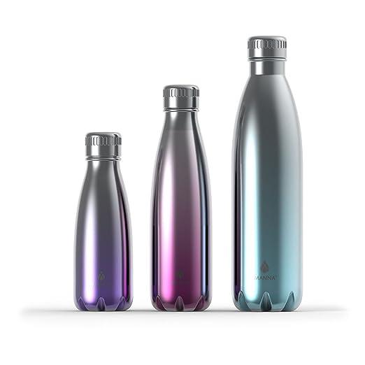 Manna Vogue Metallic Insulated Water Drink Bottles - Assorted 3 pack bundle (25 oz, 17 oz, 9 oz) - (Turquoise, Burgundy, Purple) Lead Free, BPA Free, Condensation Free