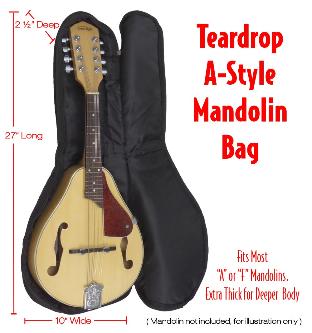 Performance Plus Heavy Duty 600 Denier Nylon, 0-String 5mm Padded Mandolin Bag (GBM165)