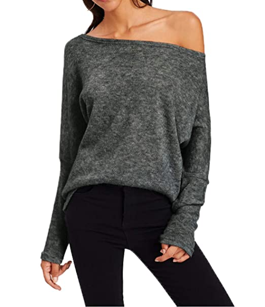 Simple-Fashion Otoño Invierno Mujeres Suéter Casual Prendas de Punto Tops  Sweater Blusa Jerseys Moda Slim Oblicuo Hombro Jerséis de Manga Larga  Pulóver  ... 38662b3c2a5c