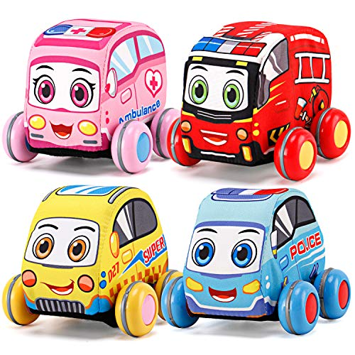 Pull-Back Plush Car Set – Soft Baby Toddler Toy Play Set of 4 City Vehicles (Police, Fire Truck, Ambulance, Taxi)