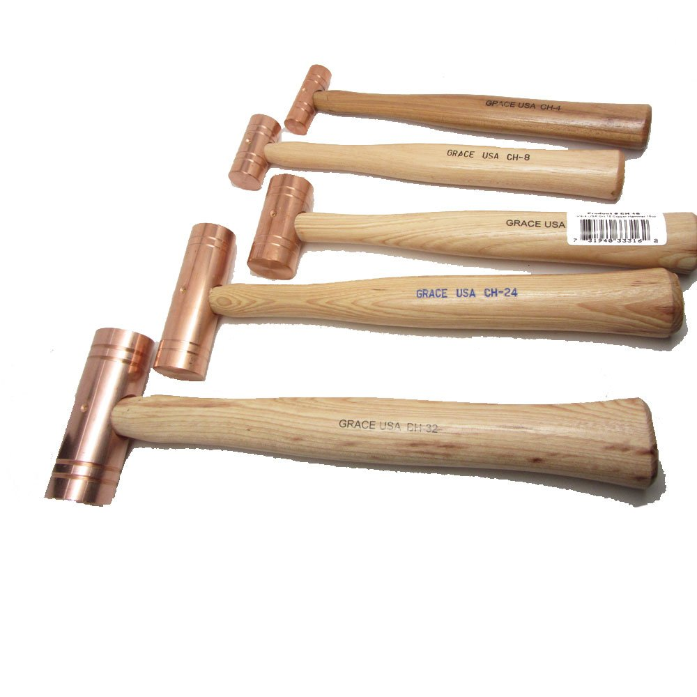 Grace USA 5 Copper Hammers Professional Mallets Set Bundle for Gunsmith, Woodworker, Machinist by UJ Ramelson Co