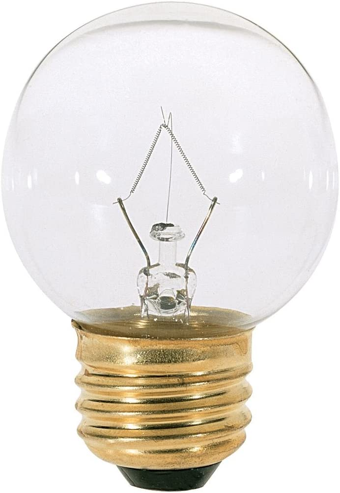 12 Clear Bulbs 40W E12 G16 1//2 Satco 40G16 1//2 Incandescent Globe Light