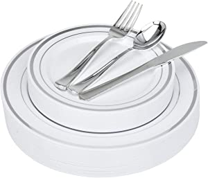 Fancy Disposable Dinner Plates with Cutlery - 125 Piece Silver Plastic Party Plates and Silverware for Weddings, Receptions, Buffets - Service for 25 Guests Disposable Plates for Party (Silver Rim)