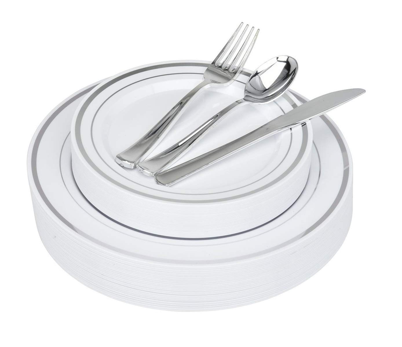 125-Piece Elegant Plastic Dinnerware & Cutlery Set Service for 25 Disposable Place Setting Includes: 25 Dinner Plates, 25 Dessert Plates, 25 Forks, 25 Knives, 25 Spoons (Silver Rim) - Stock Your Home by Stock Your Home