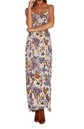Khaleesi Womens Vintage Tie-waist Boho Floral Print Maxi Beach Dress vestidos de festa Multi