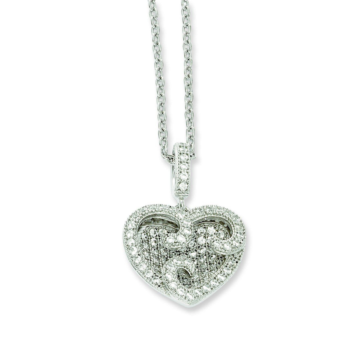 Sterling Silver CZ Brilliant Embers Polished Heart Necklace 21x15mm 18 Inches