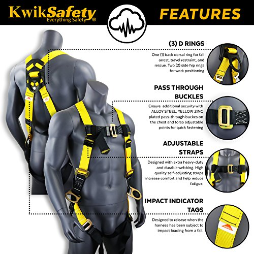 KwikSafety (Charlotte, NC) THUNDER (4 PACK) | OSHA ANSI Fall Protection Full Body Safety Harness | Personal Protective Equipment Dorsal Ring Side D-Rings | Universal Construction Industrial Roofing by KwikSafety (Image #4)