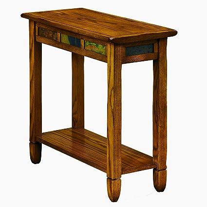 Amazoncom Narrow Chairside End Table With Storage Display Shelf