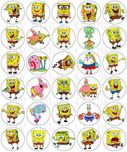30 x Edible Cupcake Toppers – SpongeBob Party Collection of Edible Cake Decorations | Uncut Edible Prints on Wafer Sheet -