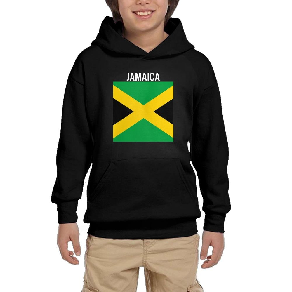 Youth Black Hoodie Jamaica Flag Hoody Pullover Sweatshirt Pocket Pullover For Girls Boys M by Hapli