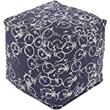 18'' Peddle Power Navy Blue and Ivory Whimsical Square Pouf Ottoman