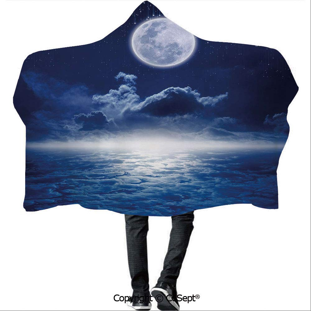 AmaUncle Polyester Hooded Blankets,Rain of Stars from Nocturnal Dark Sky Full Moon Above Clouds Scenery Decorative,Unisex All Ages One Size Fits All(59.05x78.74 inch),Dark Blue and White