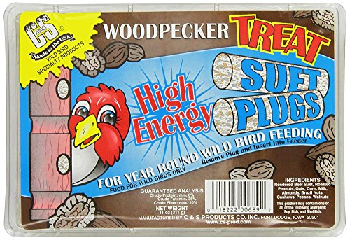 Suet Treat - C & S Products Woodpecker Treat Suet Plug, Pack of 12