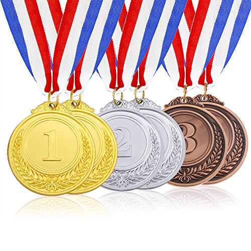 Caydo 6 Pieces Gold Silver Bronze Award Medals - Olympic Style Winner Medals Gold Silver Bronze with Ribbon -