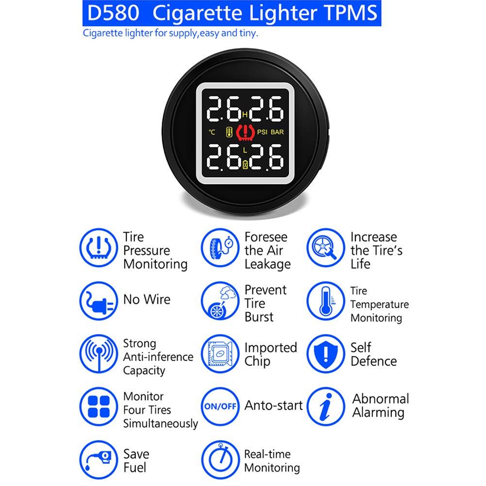 Romsion D580 C Allume-Cigare TPMS Jauge de Pression de Pneu numé rique + 4 capteurs inté gré s