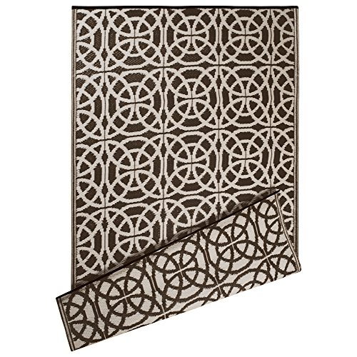 DII Contemporary Indoor/Outdoor Lightweight Reversible Fade Resistant Area Rug, Great For Patio, Deck, Backyard, Picnic, Beach, Camping, & BBQ, 4 x 6′, Dark Brown Infinity Circle