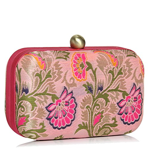 Evening Bag Brocade - Clutches for women Stylish Evening Hard case silk jacquard party multicolored clutch