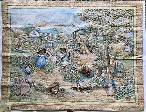The Tale of Peter Rabbit by Beatrix Potter Tapestry Jacquard Woven Finished Wall Hanging (Finished Sleeve on Back, Ready to Hang)36