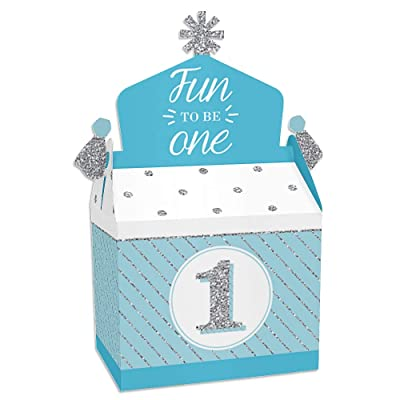 Big Dot of Happiness 1st Birthday Boy - Fun to be One - Treat Box Party Favors - First Birthday Party Goodie Gable Boxes - Set of 12: Toys & Games