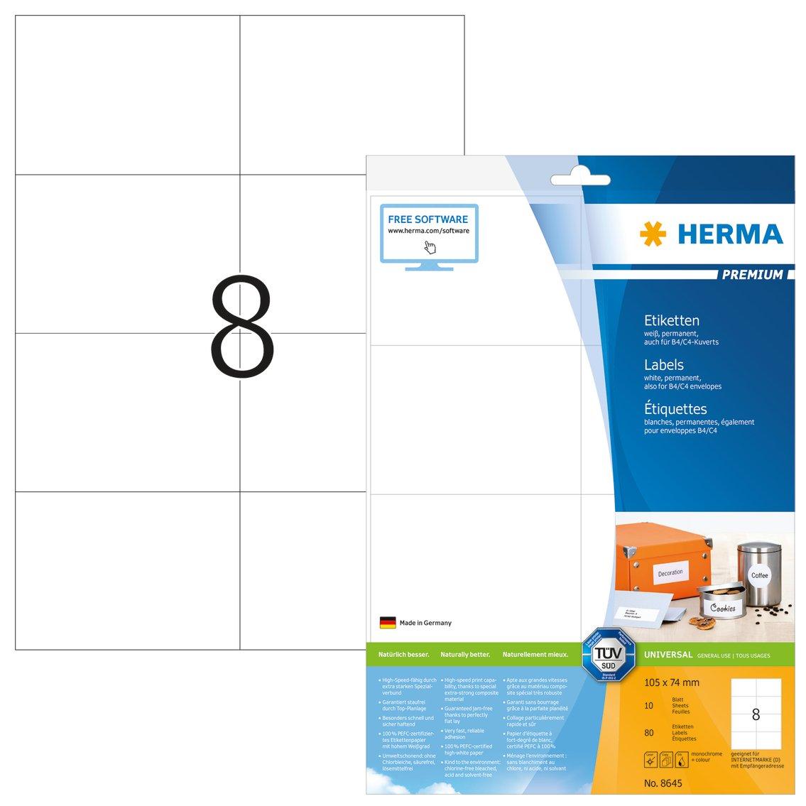 Herma 8645 - Etichette Superprint A4 105.0 x 74.0 mm