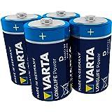 Varta 4920121414 Longlife Power (High Energy) Batteria Alcalina, Torcia D LR20, Confezione da 4 Pile - Il design può variare