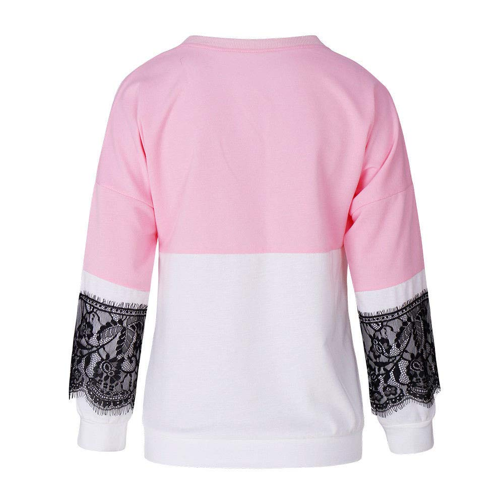 Rambling 2018 New Women Casual Long Sleeve Lace Patchwork Sweatshirt T Shirt Blouse Tops