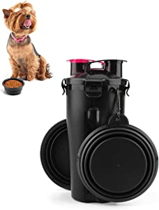 FPVERA Dog Water Bottle Portable Travel Dog Food Container and Pet Water Bottle 2 in 1 Leak Proof Cup with 2 Collapsible Dog Bowls for Outdoor Walking Travelling Hiking Camping