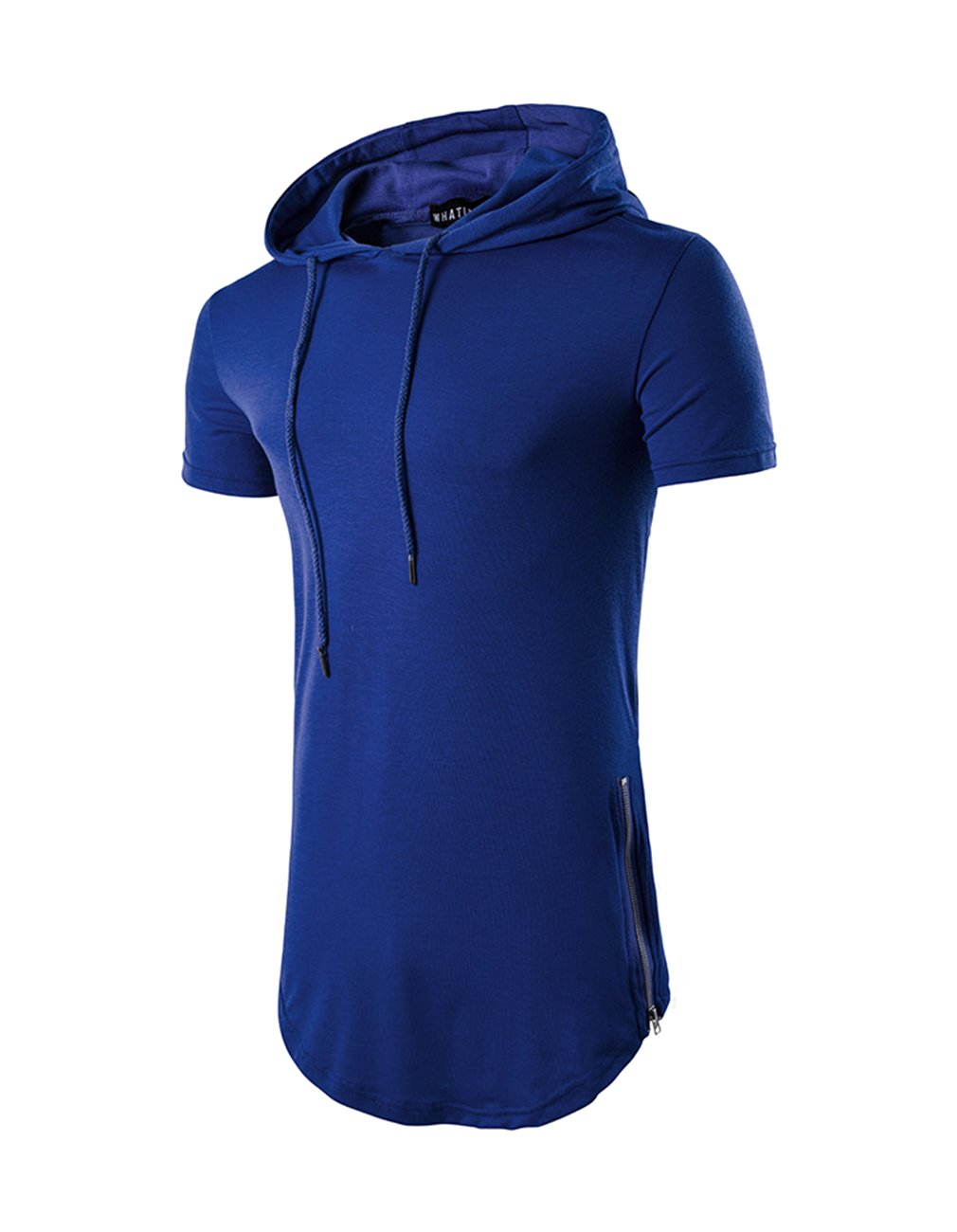 Men's Hipster Hip Hop Hoodies Side Zipper T Shirt Casual Cotton Pullover Hoodies Shirts (Small, Blue) by Miskely