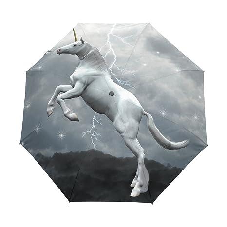 COOSUN Unicornio Sobre Las Nubes automático 3 plegable del paraguas del parasol Color # 001