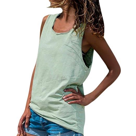 7562b01a4f49 TANGSen Women s Solid O-Neck T-Shirt Ladies Summer Fashion Short Sleeveless  Tank Top Casual T Shirt Blouse at Amazon Women s Clothing store