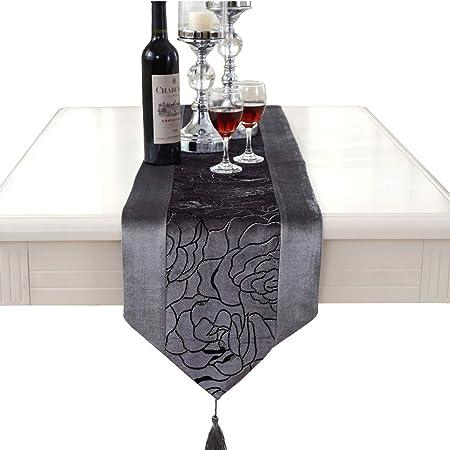 Luxus de la flor de terciopelo de sin camino de mesa, tejido, gris ...