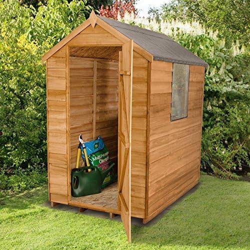 6 x 4 superposición Cobertizo de madera ventana puerta Cobertizo de Jardín Tejado y fieltro: Amazon.es: Jardín