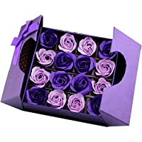 Soap Flower Bouquet with Packing Box Purple Scented Rose for Valentine's Day Soap Rose in Gift Box