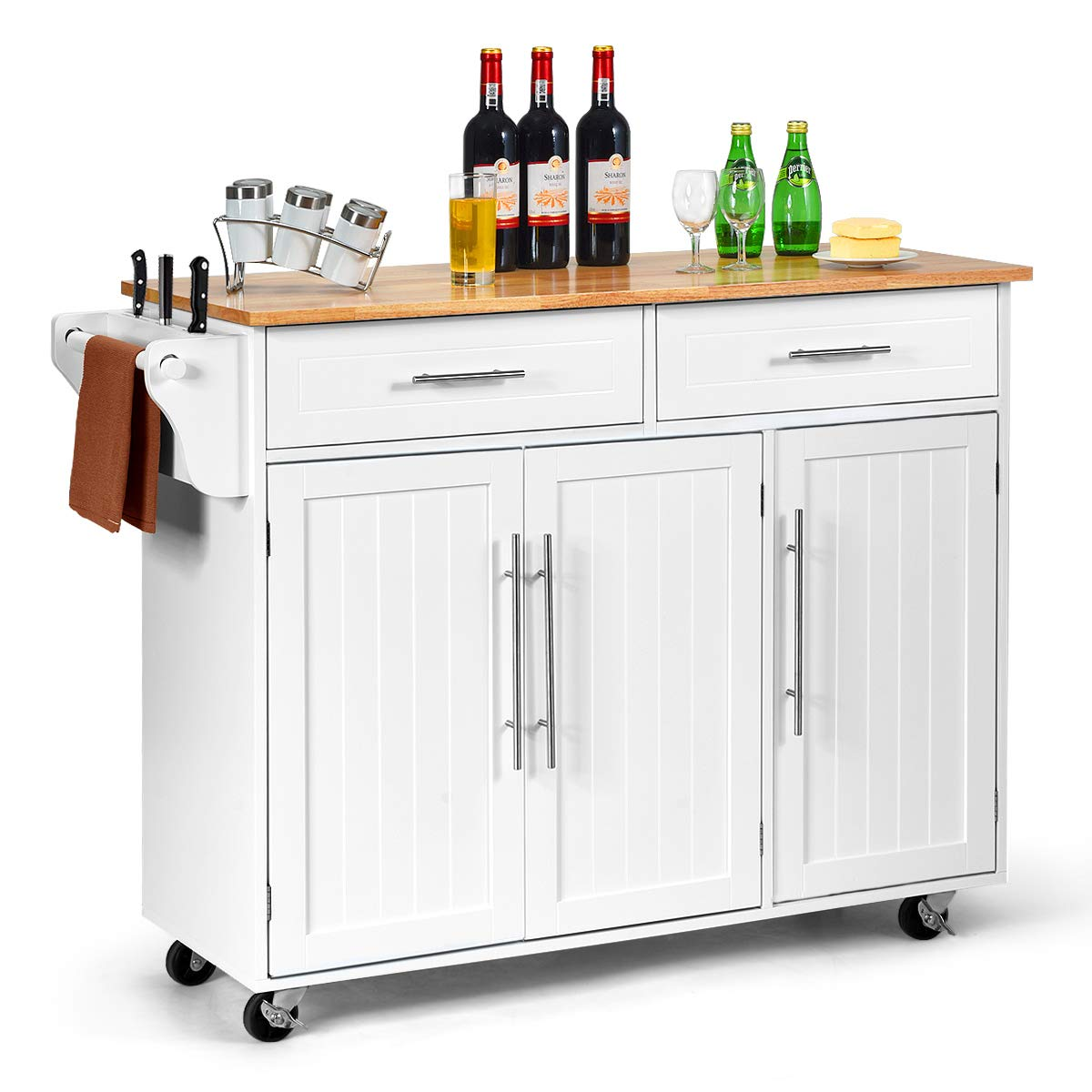 Giantex Kitchen Island Cart Rolling Storage Trolley Cart with Lockable Castors, 2 Drawers, 3 Door Cabinet, Towel Handle, Knife Block for Dining Room Restaurant Use (White) by Giantex