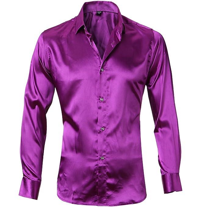 Camisa Seda Hombre, Manga Larga, Slim Fit, Camisa elástica y Brillante para Espectáculo