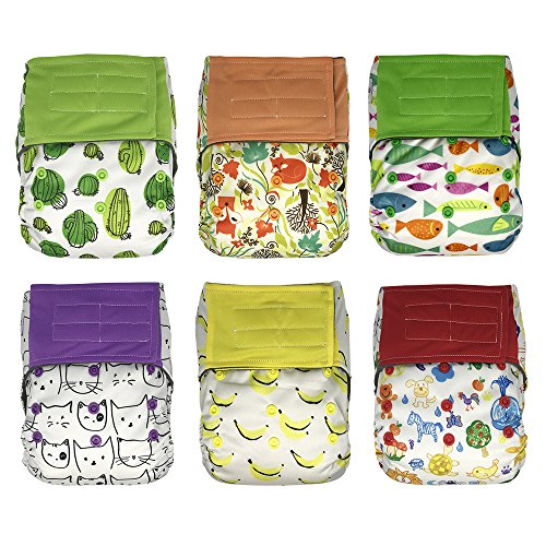 AIO Cloth Diapers Starter Kit – 6 Hook and Loop Hybrid Diapers and 6 Diaper Doubler Booster Pads (Unisex)