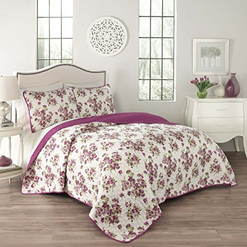 Traditions by Waverly 15280BEDDKNGVIO Primrose 104-Inch by 90-Inch 3-Piece King Quilt Collection, Violet