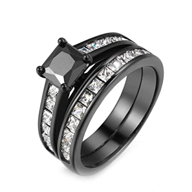 Amazoncom FF Jewelry Vintage Black And Clear Square Zircon Ring