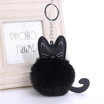 Llavero de Y56, con diseño de gato, piel artificial, negro