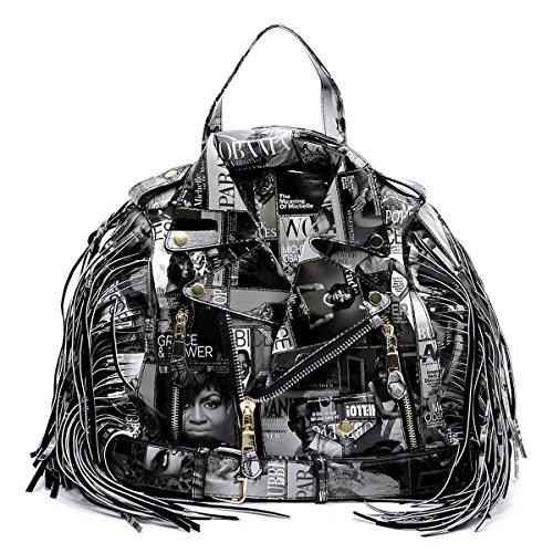 Glossy Magazine Cover Collage Motorcycle Jacket Fringe Backpack Michelle Obama Handbag (Black/White) - Fringe Motorcycle Jacket