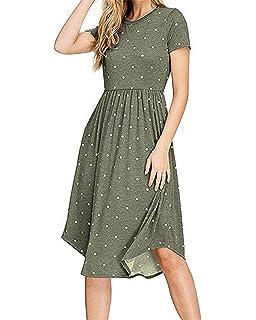 2fcc1ad3f559 PALINDA Women s Summer Short Sleeve Pleated Polka Dot Swing Midi Dress with  Pockets