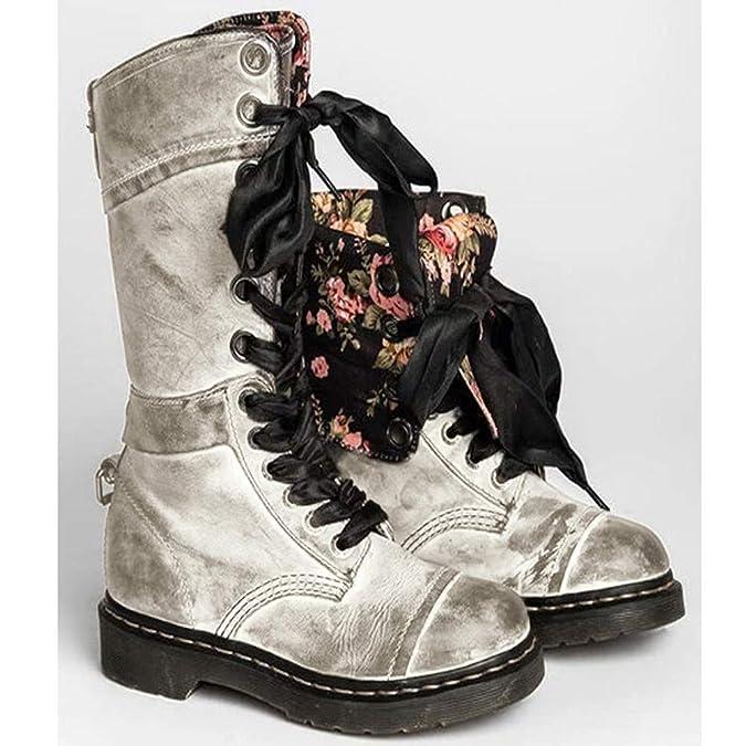 YWLINK Damen Klassisch Retro Schuh Mittlere Stiefel PU Boots Mit Westernabsatz rutschfest Runder Zeh Cowboystiefel SchnüRstiefel Flache Schuhe