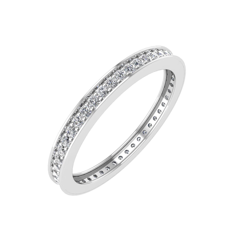 IGI Certified 10K White Gold Pave Set Diamond Eternity Wedding/Anniversary Band Ring (1/4 Carat)